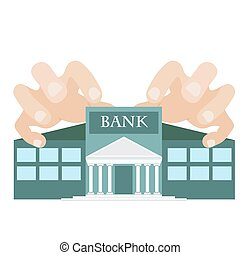 greed - vector illustration of greedy hands reaching bank...