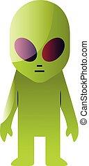 Vector illustration of green alien on a white background