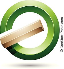 Green and Beige Round Glossy Reversed Letter G or A Icon