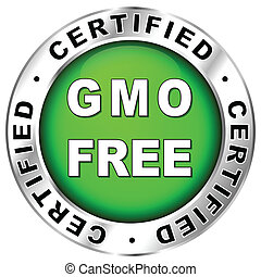 gmo free label - Vector illustration of green and chrome gmo...