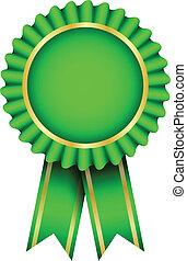 green badge with ribbon