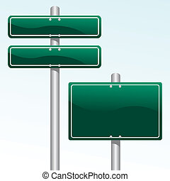 direction signs - vector illustration of green blank ...