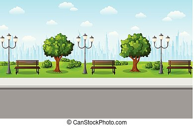 Green city park with benches, streetlights and trees
