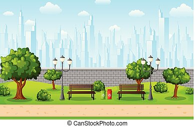 Green city park with town buildings