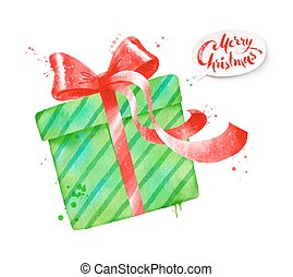 Vector illustration of green color gift - Vector watercolor...