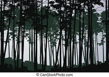 Vector illustration of green coniferous deep forest with tall trees, under grey cloudy sky