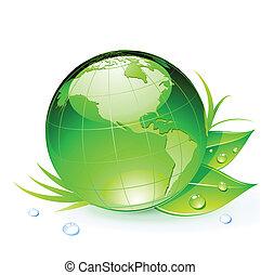 Green Earth planet - Vector illustration of Green Earth...