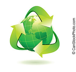 recycle symbol - Vector illustration of green Earth with ...