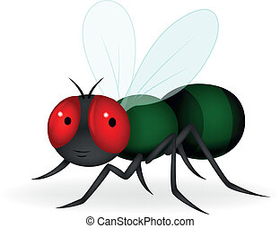 Green fly cartoon - Vector illustration of Green fly cartoon