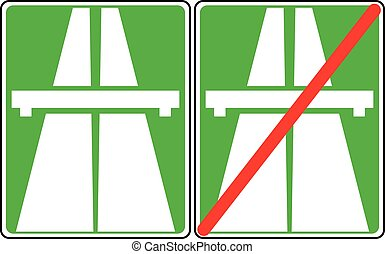 Vector illustration of green freeway signs on white background