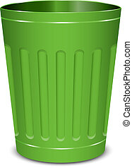 green garbage can - Vector illustration of green garbage can