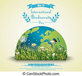 Green grass and flowers with earth