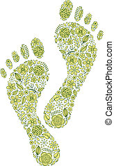 green human footprints on white background