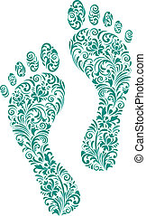 Vector illustration of green human footprints on white background