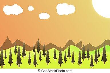 green landscape of sunny morning