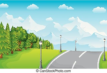 Green landscape with mountains and road