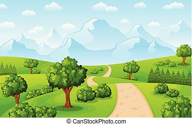 Green landscape with mountains and trees