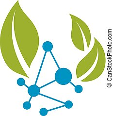 Vector illustration of green leaves and molecule mesh ...