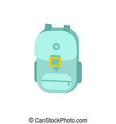 Vector illustration of Green school Bag, Backpack, isolated on white background.