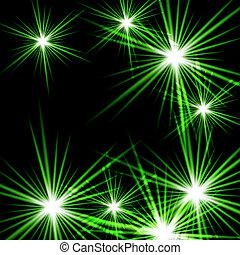 Vector illustration of Green shining cosmic light