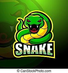Green snake mascot esport logo design
