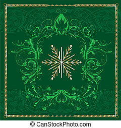 Green Square Snowflake - Vector Illustration of Green Square...