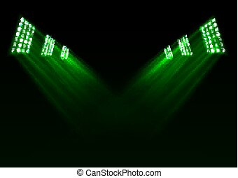 Green stage lights background