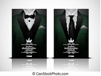 Green Suit and Tuxedo with black bow tie