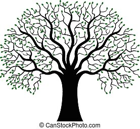 Green Tree silhouette cartoon