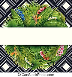 Green Tropical leaves and flower. Vector foliage with place for text background