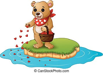 Greeting card teddy bear cartoon with a basket of red heart in an island
