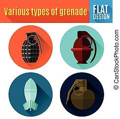 grenade flat icon design. - Vector Illustration of grenade...