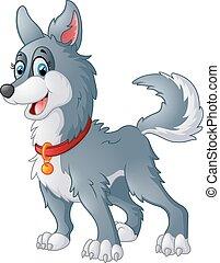 grey dog cartoon