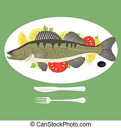 vector illustration of grill prepared Zander Perch fish with lemon and parsley