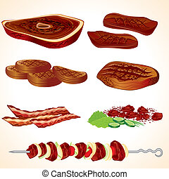Vector Illustration of Grilled Meat, Bacon, Burgers, Steaks, Shish kebab...