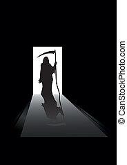 vector illustration of Grim reaper silhouette standing in a doorway