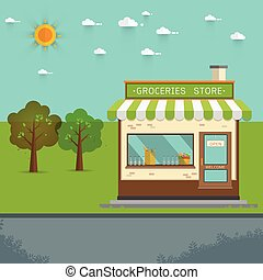Vector illustration of groceries store