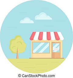 Vector illustration of grocery store with tree, sky, grass. Flat circle icon