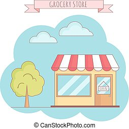 Vector illustration of grocery store with tree, sky, grass.
