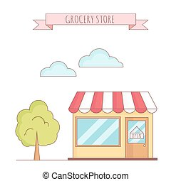 Vector illustration of grocery store with tree
