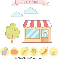 Vector illustration of grocery store with vegetable icons.
