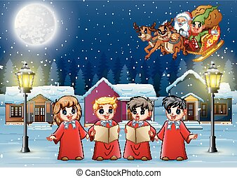 Group of children choir with Santa Claus and elf riding his sleigh at the night