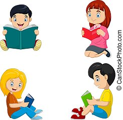 Group of children reading a books