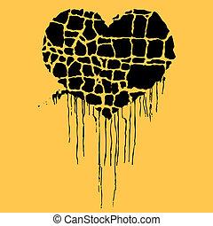 vector illustration of grunge black heart