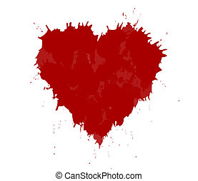 vector illustration of grunge heart made with red ink. Valentine's day theme.