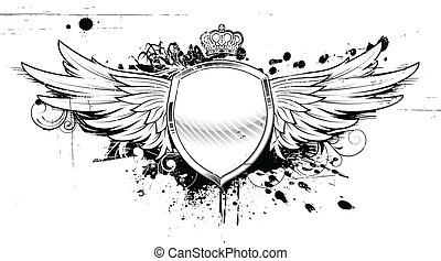 grunge heraldic shield - Vector illustration of grunge...