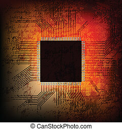 microchip - vector illustration of grungy microchip10