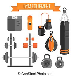 Vector illustration of gym equipment. Flat style