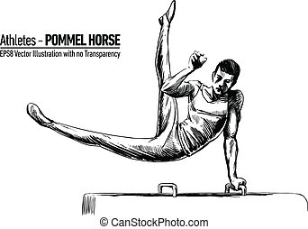 Vector Illustration of Gymnastics - Hand-drawn Sketchy...