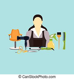 Vector illustration of hairdresser and equipment set